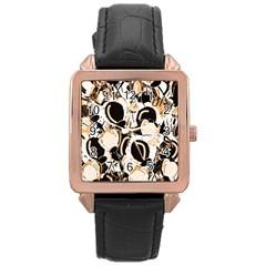 Orange Abstract Garden Rose Gold Leather Watch  by Valentinaart