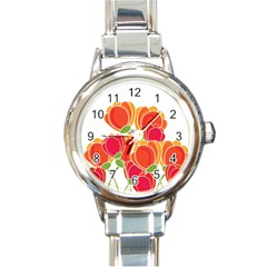 Orange Flowers  Round Italian Charm Watch by Valentinaart