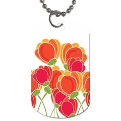 Orange Flowers  Dog Tag (two Sides) by Valentinaart