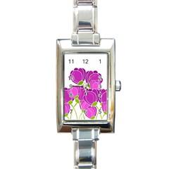 Purple Flowers Rectangle Italian Charm Watch by Valentinaart