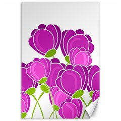 Purple Flowers Canvas 24  X 36  by Valentinaart