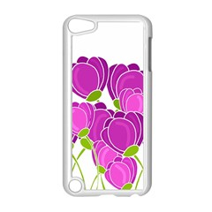 Purple Flowers Apple Ipod Touch 5 Case (white) by Valentinaart