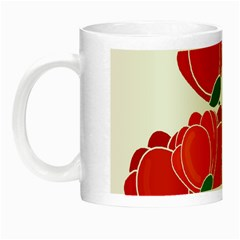 Red Floral Design Night Luminous Mugs by Valentinaart