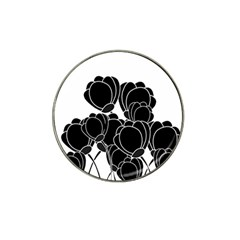 Black Flowers Hat Clip Ball Marker (4 Pack) by Valentinaart