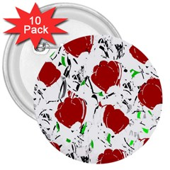Red Roses 2 3  Buttons (10 Pack)  by Valentinaart