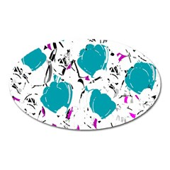 Cyan Roses Oval Magnet by Valentinaart