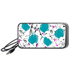 Cyan Roses Portable Speaker (black)  by Valentinaart