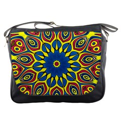 Yellow Flower Mandala Messenger Bags by designworld65