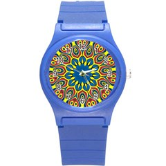 Yellow Flower Mandala Round Plastic Sport Watch (s) by designworld65