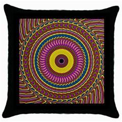 Ornament Mandala Throw Pillow Case (black) by designworld65