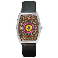 Ornament Mandala Barrel Style Metal Watch by designworld65