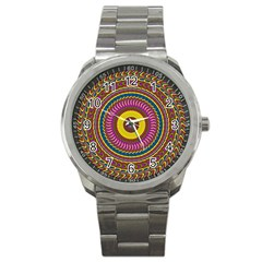 Ornament Mandala Sport Metal Watch by designworld65