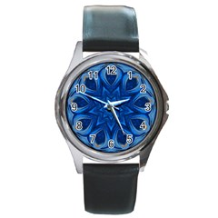 Blue Blossom Mandala Round Metal Watch by designworld65