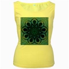 Blue Blossom Mandala Women s Yellow Tank Top by designworld65