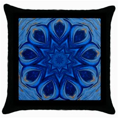 Blue Blossom Mandala Throw Pillow Case (black) by designworld65