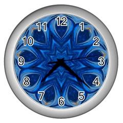 Blue Blossom Mandala Wall Clocks (silver)  by designworld65