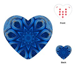 Blue Blossom Mandala Playing Cards (heart)  by designworld65