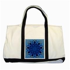 Blue Blossom Mandala Two Tone Tote Bag by designworld65