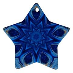Blue Blossom Mandala Star Ornament (two Sides)  by designworld65