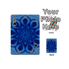 Blue Blossom Mandala Playing Cards 54 (mini)  by designworld65