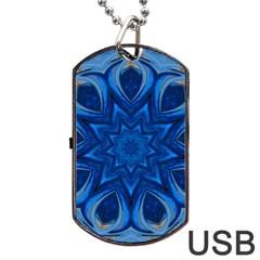 Blue Blossom Mandala Dog Tag Usb Flash (one Side) by designworld65