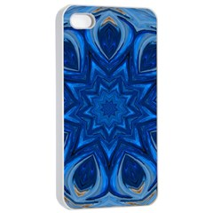 Blue Blossom Mandala Apple Iphone 4/4s Seamless Case (white) by designworld65