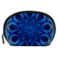 Blue Blossom Mandala Accessory Pouches (large)  by designworld65