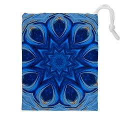 Blue Blossom Mandala Drawstring Pouches (xxl) by designworld65