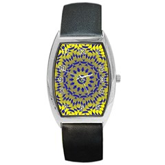 Yellow Blue Gold Mandala Barrel Style Metal Watch by designworld65