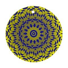 Yellow Blue Gold Mandala Round Ornament (two Sides)  by designworld65