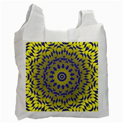 Yellow Blue Gold Mandala Recycle Bag (one Side) by designworld65