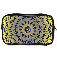 Yellow Blue Gold Mandala Toiletries Bags 2 Side by designworld65