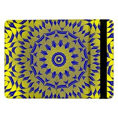 Yellow Blue Gold Mandala Samsung Galaxy Tab Pro 12 2  Flip Case by designworld65