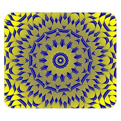 Yellow Blue Gold Mandala Double Sided Flano Blanket (small)  by designworld65