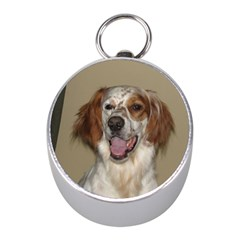 Irish Red And White Setter Mini Silver Compasses by TailWags