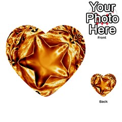 Elegant Gold Copper Shiny Elegant Christmas Star Multi Purpose Cards (heart)  by yoursparklingshop