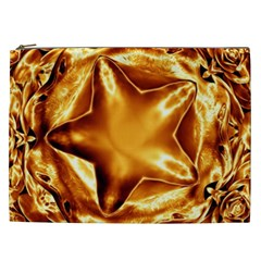 Elegant Gold Copper Shiny Elegant Christmas Star Cosmetic Bag (xxl)  by yoursparklingshop