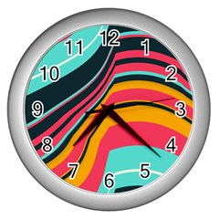 Bent Waves                                                                                                        wall Clock (silver) by LalyLauraFLM