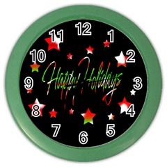 Happy Holidays 2  Color Wall Clocks by Valentinaart