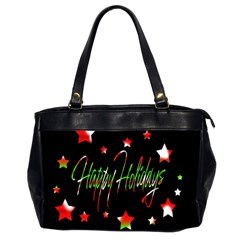 Happy Holidays 2  Office Handbags (2 Sides)  by Valentinaart