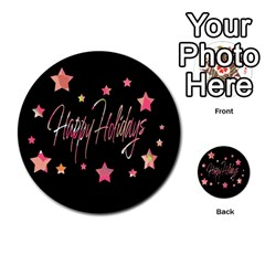 Happy Holidays 3 Multi Purpose Cards (round)  by Valentinaart