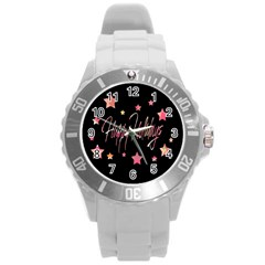 Happy Holidays 3 Round Plastic Sport Watch (l) by Valentinaart
