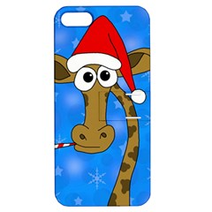 Xmas Giraffe   Blue Apple Iphone 5 Hardshell Case With Stand by Valentinaart