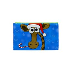 Xmas Giraffe   Blue Cosmetic Bag (xs) by Valentinaart