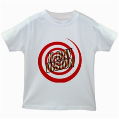 Comic Book X Ray Vision Red Spiral Kids White T-Shirts by ComicBookPOP