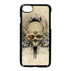 Awesome Skull With Flowers And Grunge Apple Iphone 7 Seamless Case (black) by FantasyWorld7