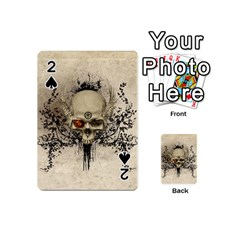 Awesome Skull With Flowers And Grunge Playing Cards 54 (Mini)  by FantasyWorld7