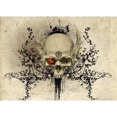 Awesome Skull With Flowers And Grunge Birthday Cake 3d Greeting Card (7x5) by FantasyWorld7