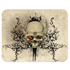 Awesome Skull With Flowers And Grunge Double Sided Flano Blanket (medium)  by FantasyWorld7