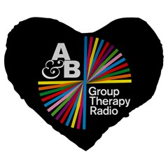 Above & Beyond  Group Therapy Radio Large 19  Premium Flano Heart Shape Cushions by Onesevenart